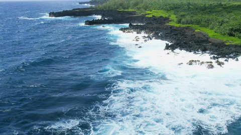 Aerial view of a volcanic shoreline landscape Waianapanapa State Park and Hawaiian Breadfruit Plantation Maui Polynesia USA RED WEAPON