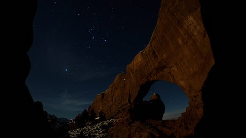 Arches National Park North Window Moonrise Timelapse in Wintertime