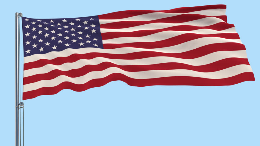 3D Rendered Motion Design Footage Isolated Large Cloth In The Colors Of USA On A Flagpole Fluttering Wind