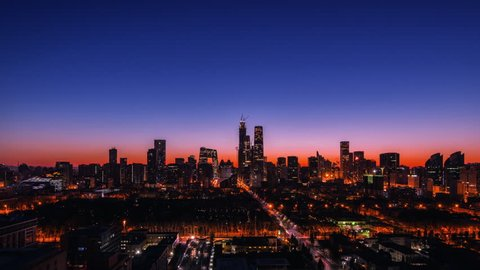 Timelapse. CBD Skyscrapers Skyline at Sunrise,Beijing,China.