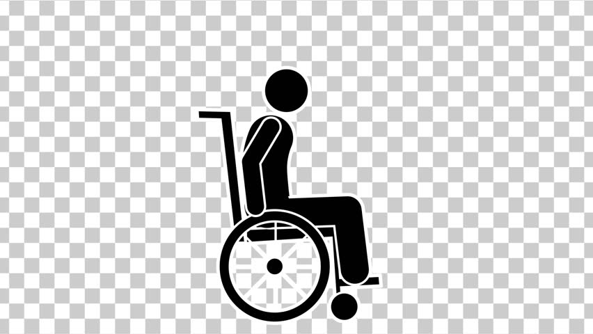 Black Stick Figure  Character On Wheelchair. Footage With Alpha Matte