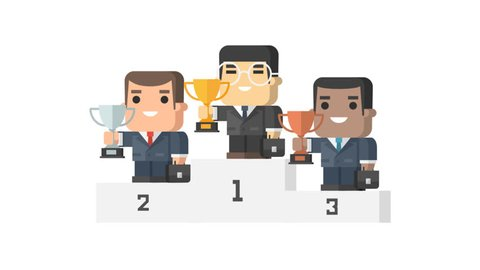 Businessmen stands on pedestal holding cup and smiling funny characters. Motion graphics. Transparent background.