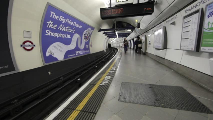 LONDON - OCTOBER 9, 2011: Underground train station in London