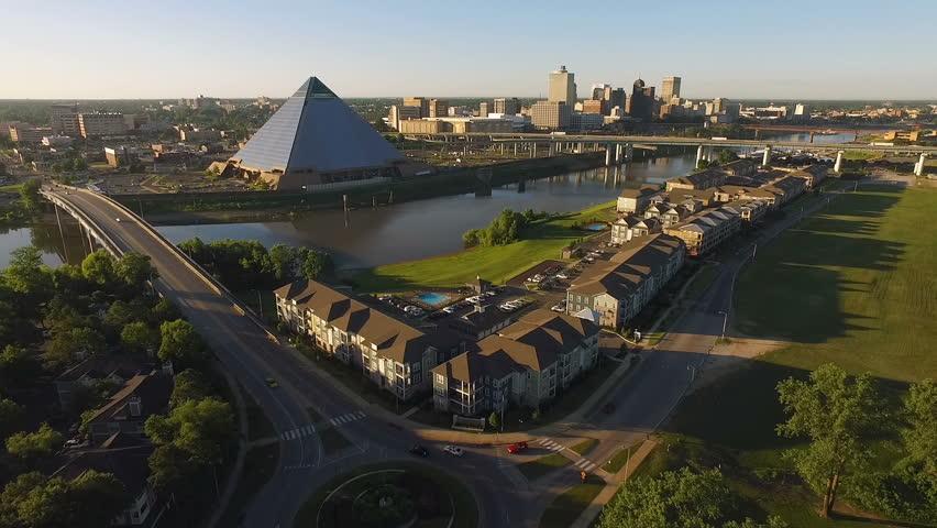 Memphis Tennessee Skyline Mississippi River Hernando de Soto Bridge