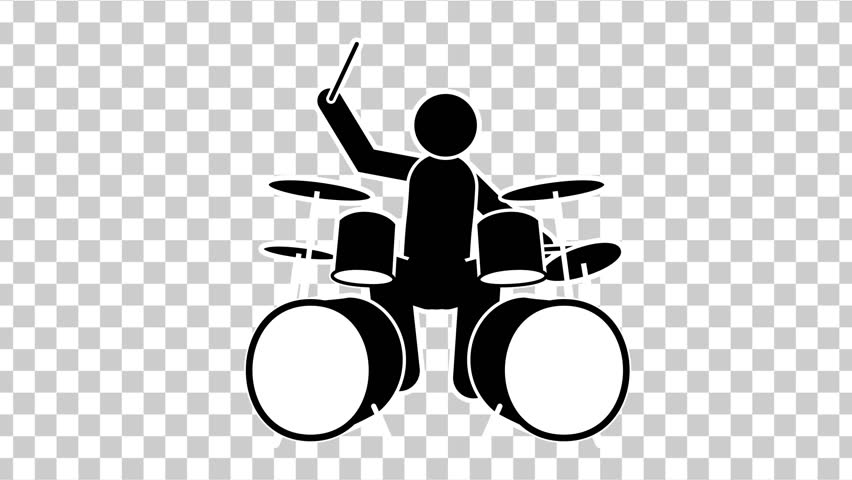 Black Stick Figure  Character Drummer. Footage With Alpha Matte