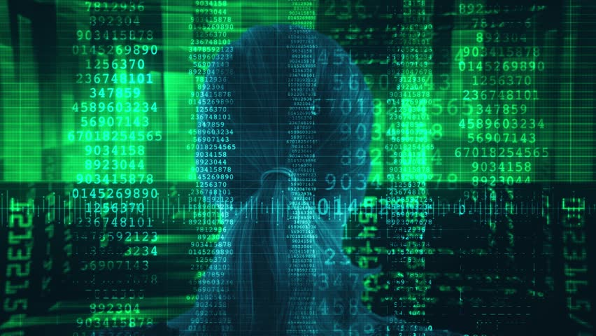 Stream Data Code Woman. Woman head In Source Code Illustration. Shot behind model shoulders. | Shutterstock HD Video #34747903