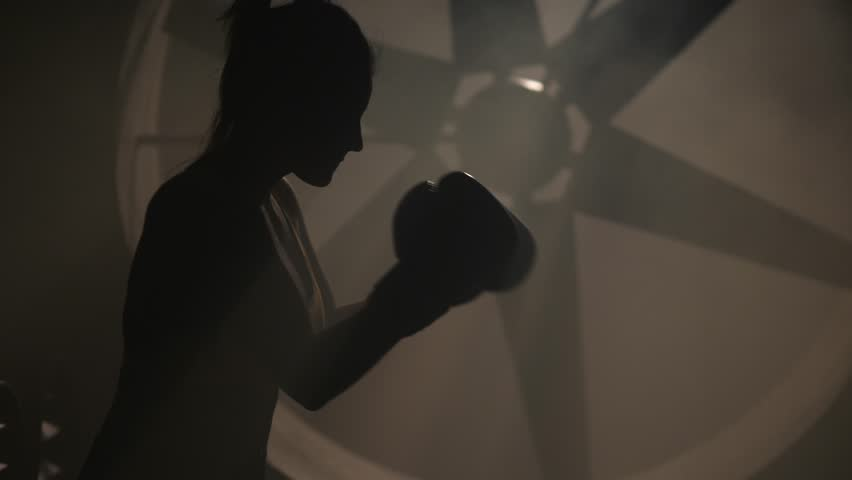 Silhouette woman fighter mma training punches with hands in boxing gloves | Shutterstock HD Video #34756213