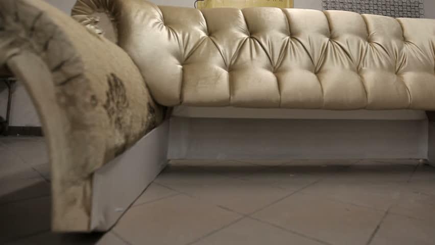 Hd00:08Building A Sofa In A Furniture Factory. Beautiful Model Of A Modern  Sofa