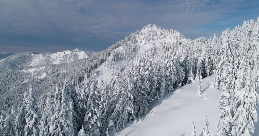 Winter Forest Landscape Aerial Drone Flyaway Cascade Mountains Pacific Northwest Washington State USA