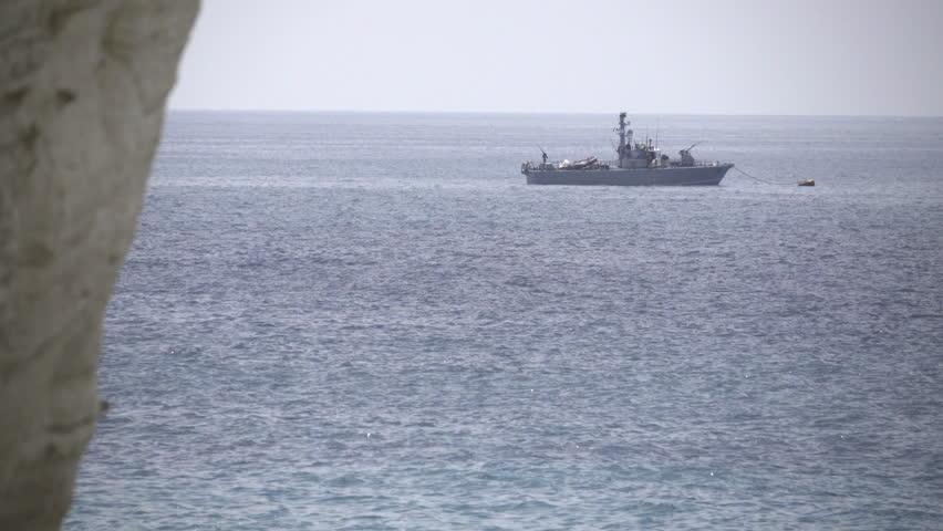 Scene of Israeli Naval vessel near Mediterranean coast