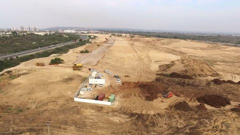 Or Akiva / Caesarea, Israel - Aerial View of a new construction site of a new neighborhood.
