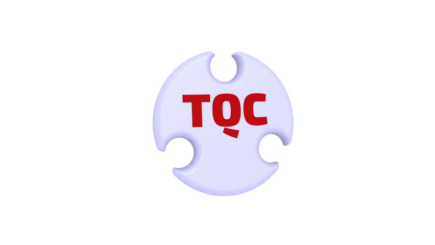 "TQC. Total quality control. The check mark in the form of a puzzle. The inscription ""TQC - TOTAL QUALITY CONTROL"" on the puzzle in the shape of a circle. Footage video 