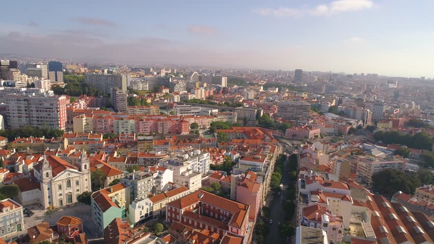 Lisbon Portugal Aerial  Panorama view of city Streets Red roofs Sunny day 4K | Shutterstock HD Video #34844923