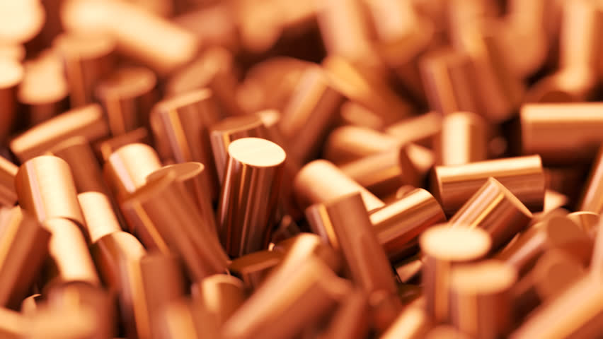 03096 Close up of pure copper cylindrical granulate. CG loopable animation.
