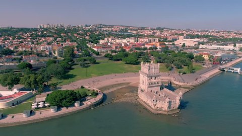 Portugal Lisbon Belem Tower Aerial view Tagus river Famous tower Summer  4k