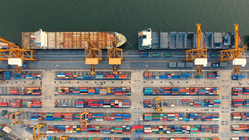 Container ships and lifting cranes in the Port in Bangkok Thailand. Aerial view by drone 4k camera. | Shutterstock HD Video #34906150