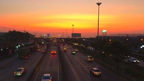 7 January 2018 Samut Sakhon Thailand beautiful sunset at evening on road Rama 2RD before night time