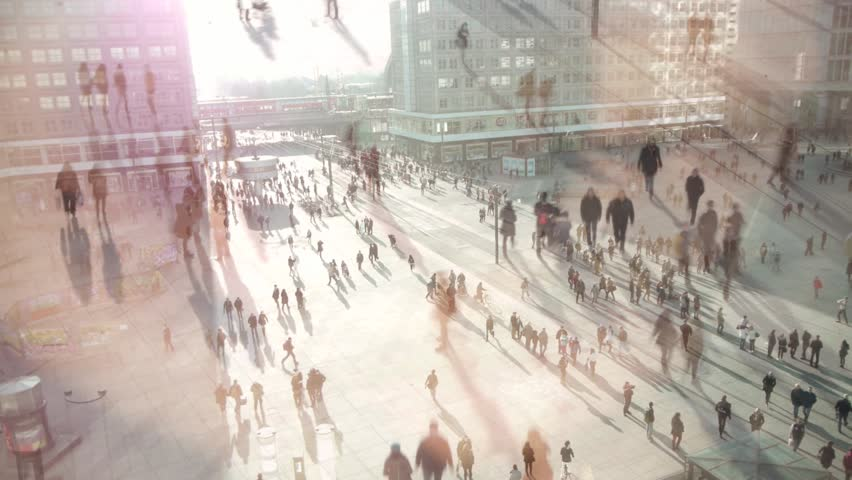 people walking on busy city street HD #3497933