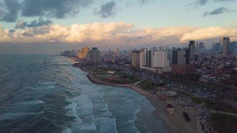 Aerial view of golden hour Tel-Aviv city skyline Epic shot of Tel Aviv City skyline before night beautiful aerial shot!