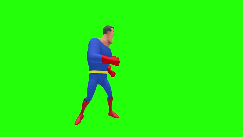 Happy silly animated superhero strongman cartoon character looks around to the right then left sides multiple times in front of green screen | Shutterstock HD Video #35017063