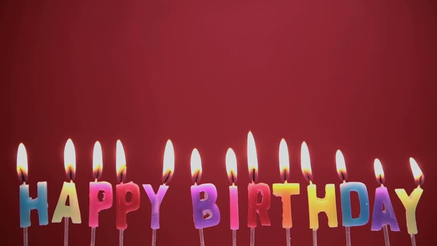 Happy Birthday Candles On Red Background