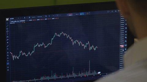 trader at work. bitcoin trade