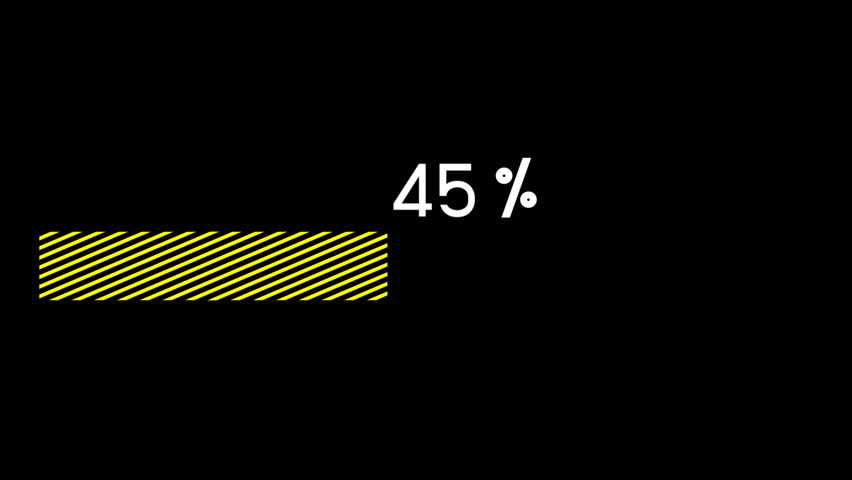 Yellow loading bar 4K Video -  0 to 100%,  Animation green bar on black screen - Download 100% complete.  Ideal as a motion design element, introduction loading video or infographics.