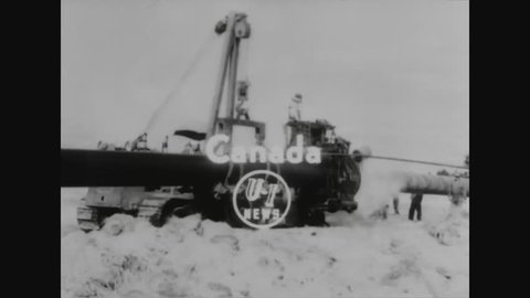 CIRCA - 1953 - An oil pipeline is constructed between Alberta and Ontario, Canada.