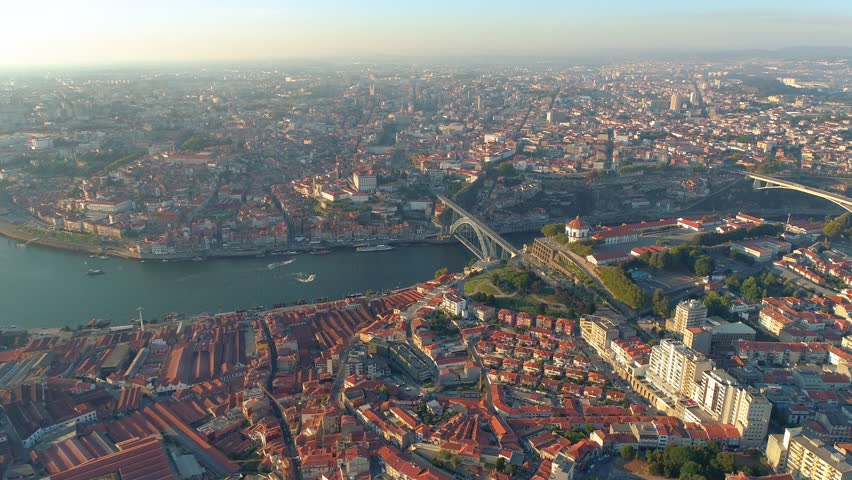 Portugal Porto aerial view Vila Nova de Gaia and Ribeira district  Panorama view | Shutterstock HD Video #35051563