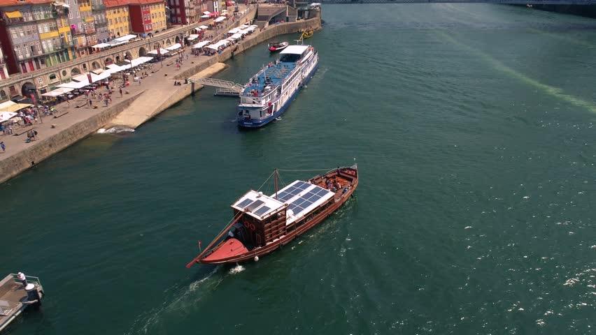 Portugal Porto aerial video city centre bridges boat ship yacht 4k awesome