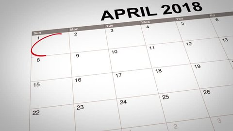 3D animation of April Fools Day marked on calendar 2018. Concept of April Fools Day reminder.