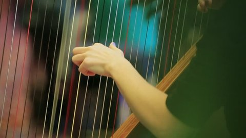symphony orchestra harp stock footage