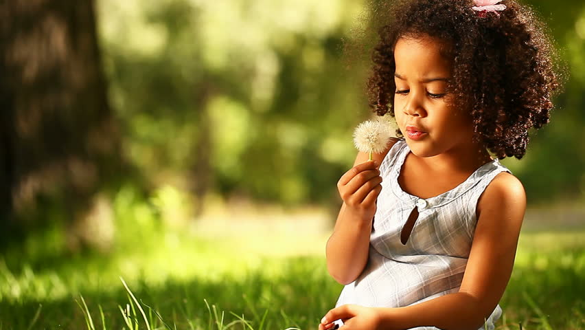 Cute little girl having fun blowing Dandelion seeds while relaxing in the park.