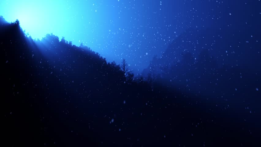 The moon shining through the night forest. With snow falling.