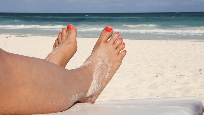Happy Beach Feet Nice Feet Stock Footage Video 100 -6321