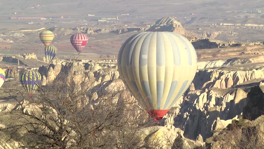 Hot air balloons flying in Cappadocia, Turkey.