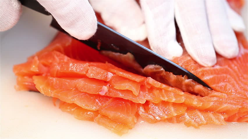 Slicing salmon fillets | Shutterstock HD Video #3545084