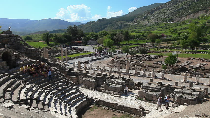 Tourists visit Odeion in the Ephesus amphitheater on June 10, 2012