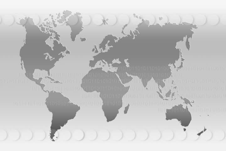 Blue world map video animation with labels 1920x1080 stock footage world map in gray world map with animated circles and binary numbers sd stock gumiabroncs Choice Image