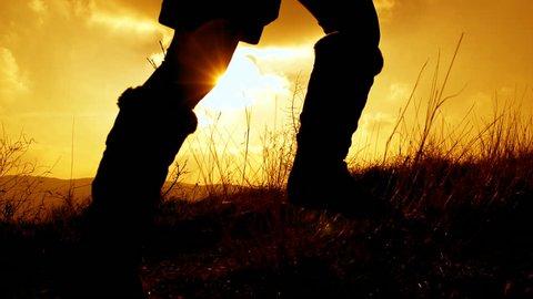 SLOW MOTION: Girl running at sunset