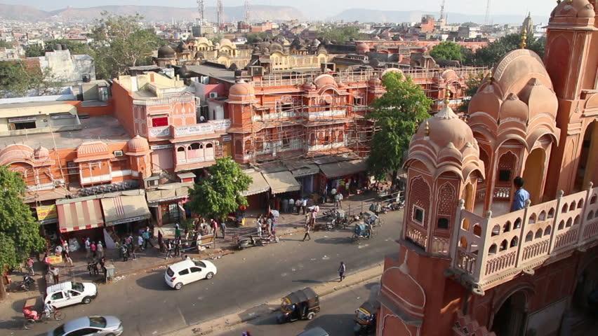 aerial view on Jaipur from Hawa Mahal palace - India