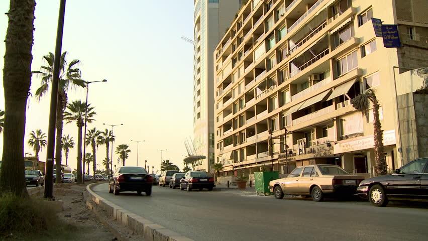 AL RAOUCHE, BEIRUT - CIRCA 2012: Traffic moving on the Corniche in Al-