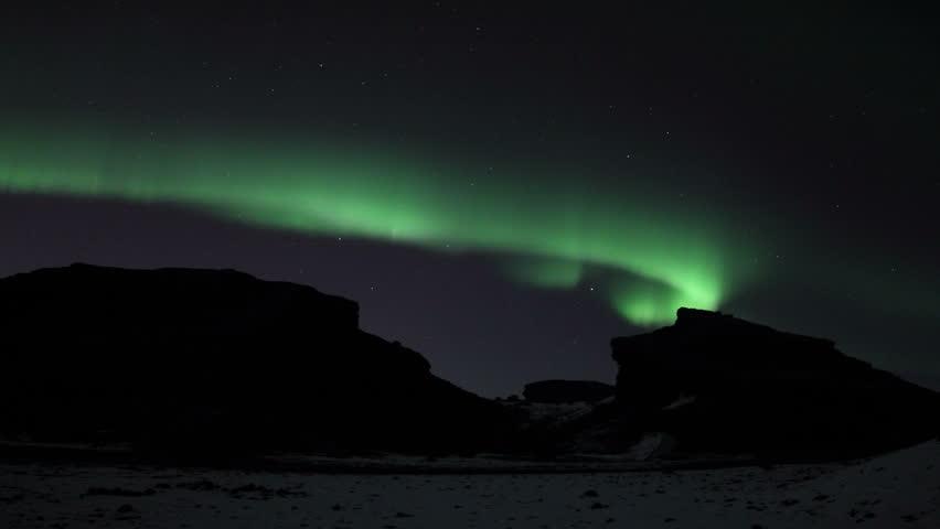 Northern Lights in Lava Green Loop, Reykjavik Iceland
