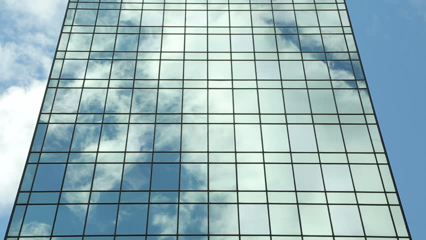 Gl Curtain Wall Reflection Of Clouds Time Lapse Photography