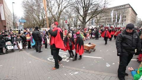 DUSSELDORF, GERMANY – FEBRUARY 11: People celebrate Rosenmontag Karneval or Carnival. February 11, 2013,  Dusseldorf, Germany