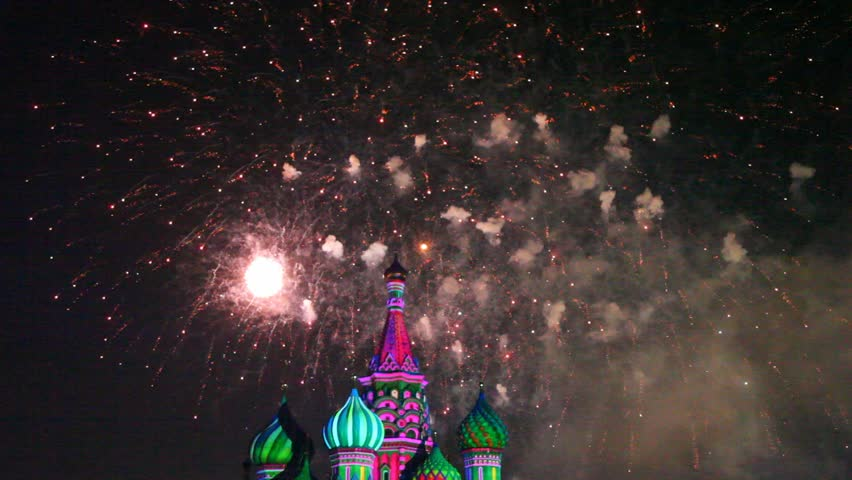 MOSCOW - AUG 31: Fireworks on top of Saint Basil Church at Military Music Festival Spasskaya Tower, on Aug 31, 2011 in Moscow, Russia.