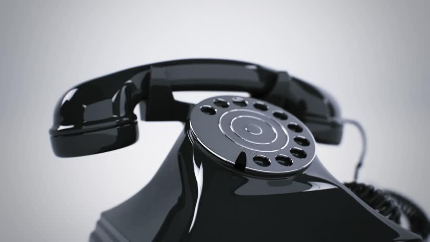 Ringing black retro telephone. CG Animation.