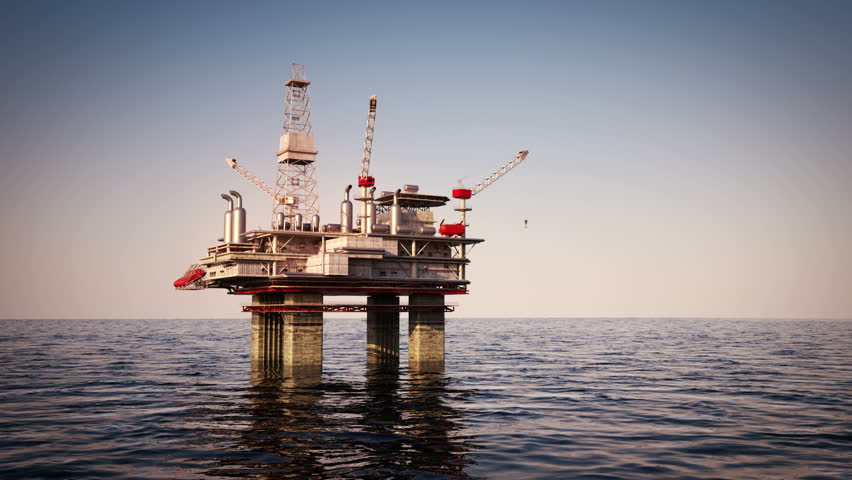 Oil platform on sea is offshore structure with facilities to drill wells, extract and process oil and natural gas and temporarily store produced goods until it can be brought to the shore for refining | Shutterstock HD Video #3634118