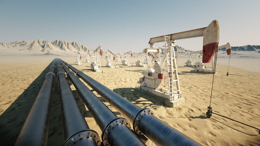 Oil pump jack rocking with pipeline in the background. Loopable animation. | Shutterstock HD Video #3634217