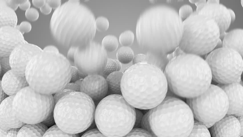 Huge number of golf balls is falling down and forming a wall in front of the camera. Animation has alpha split at the end. Video can be useful as transition in golf related material.